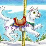 Art: Snow Carousel #2 - Cat SOLD by Artist Kim Loberg