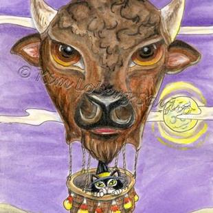 Art: The Witch's Black Cat and the Buffalo Hot Air Balloon Ride - SOLD by Artist Kim Loberg