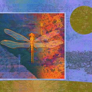 Art: Flaming Dragonfly by Artist Mary Ogle