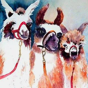 Art: Llamas Three by Artist Ulrike 'Ricky' Martin