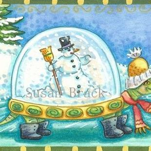 Art: TORTOISE SHELL SNOW GLOBE ON A FROZEN POND by Artist Susan Brack