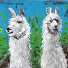 Art: Two Llamas - oil by Artist Luba Lubin
