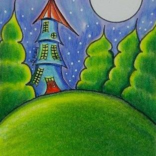 Art: Moonlit Castle-Sold by Artist Sherry Key