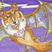 Art: Bat Collie by Artist Kim Loberg