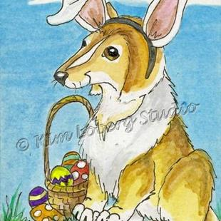 Art: Collie Easter Bunny - SOLD by Artist Kim Loberg