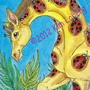 Art: Lady Bug Spotted Giraffe by Artist Kim Loberg