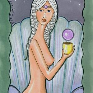 Art: Minor Arcana-Queen of Cups by Artist Sherry Key