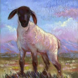 Art: Mountain Green Spring Lamb (Sold) by Artist Patricia  Lee Christensen