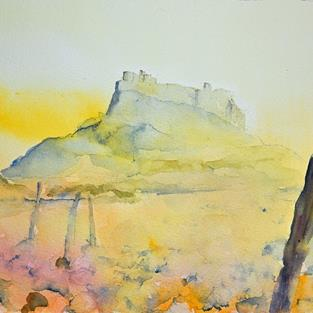 Art: Lindisfarne Castle by Artist John Wright