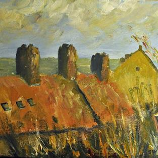 Art: Rooftops, Whitby by Artist John Wright