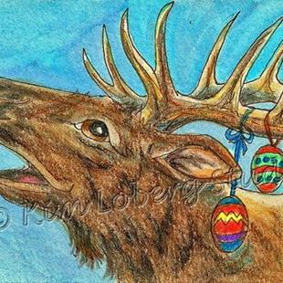 Art: Bull Elk & Eggs by Artist Kim Loberg