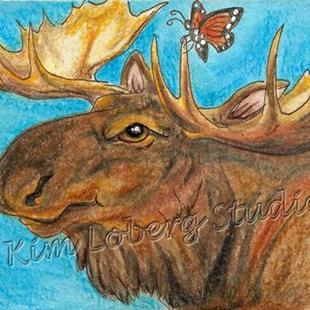 Art: Moose and Butterfly - SOLD by Artist Kim Loberg