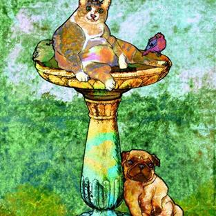 Art: Fat Cat and Pug by Artist Mary Ogle