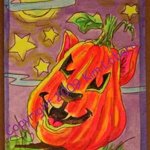 Art: Punkin' Head Neon Boo Kitty - SOLD by Artist Kim Loberg