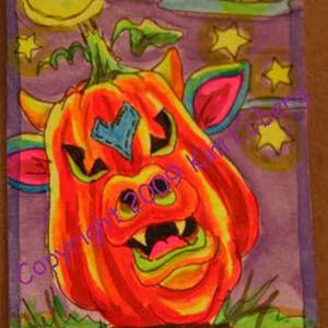 Art: Punkin' Head Neon Boo Cow by Artist Kim Loberg