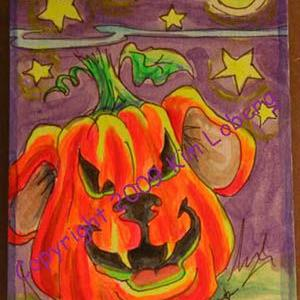 Art: Punkin' Head Neon Boo Dog by Artist Kim Loberg
