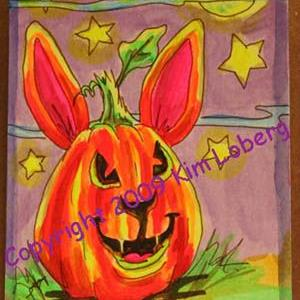 Art: Punkin' Head Neon Boo Rabbit - SOLD by Artist Kim Loberg