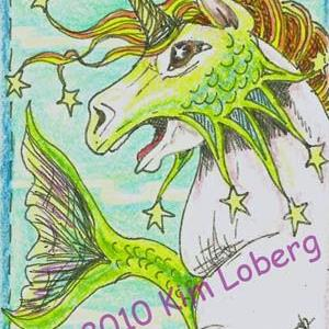 Art: Star Unicorn Hippocampus - SOLD by Artist Kim Loberg