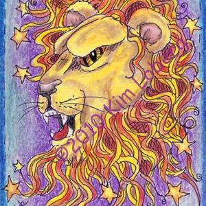 Art: Zodiac Star Lion by Artist Kim Loberg