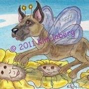 Art: Great Dane Dog Fly by Artist Kim Loberg