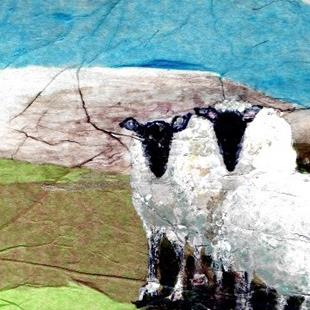 Art: Three Blackface Sheep, OSWOA, 4x6 inches by Artist Judith A Brody