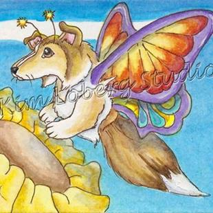 Art: Collie Butterfly SOLD by Artist Kim Loberg