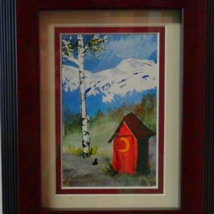 Art: The Red House (sold) by Artist Kathy Crawshay