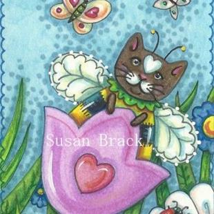 Art: Bumblecat: SWINGING TULIPS MAKE BUMBLECATS PURR by Artist Susan Brack