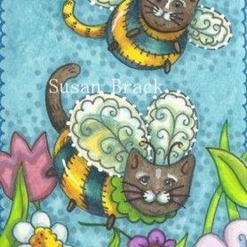 Art: HERE COME PURRS N BUZZ by Artist Susan Brack