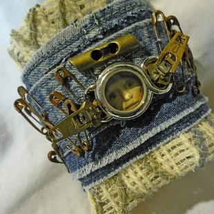 Art: PINS AND ZIPPERS CUFF by Artist Vicky Helms