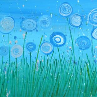 Art: Abstract Flowers - Blue by Artist Louise Mead