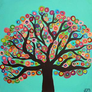 Art: Square Abstract Tree by Artist Louise Mead