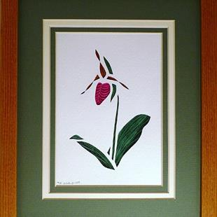 Art: Quilled Pink Lady's Slipper by Artist Sandra J. White