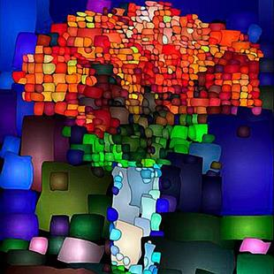 Art: Abstract Bouquet by Artist Deanne Flouton