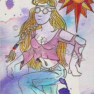 Art: Pink Shirt Cool Tie - Dye Hippie Chick by Artist Kim Loberg