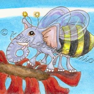 Art: Lil' Bumble Bee Elephant by Artist Kim Loberg