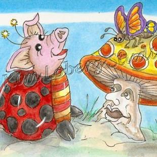 Art: Lil' Pig Lady Bug & the Mushroom Man - SOLD by Artist Kim Loberg