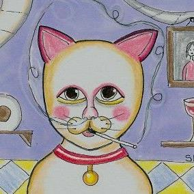 Art: Good Luck Kitty-29 Faces by Artist Sherry Key