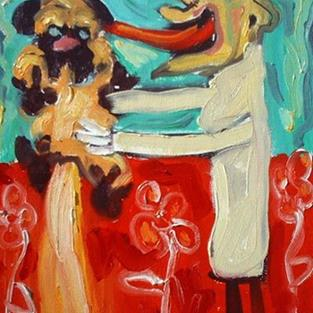 Art: Veterinarian Soothing Sick Pug by Artist Elisa Vegliante