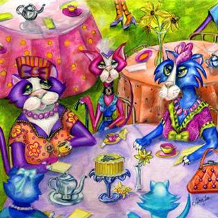 Art: Biddy Kitty Tea Party by Artist Alma Lee