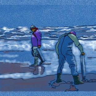 Art: clammers looking for razor clams by Artist Naquaiya