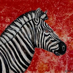 Art: Zebra Sunset by Artist Melinda Dalke