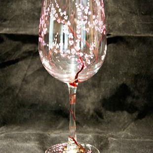 Art: Panswafster I Dragonfly Cherry Blossom White Wine Glass by Artist Rebecca M Ronesi-Gutierrez