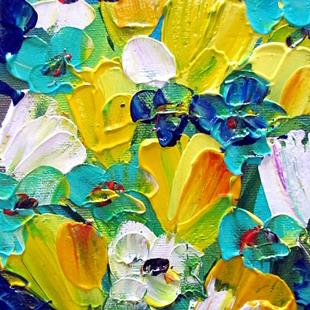 Art: YELLOW BLUE TURQUOISE FLORAL by Artist LUIZA VIZOLI