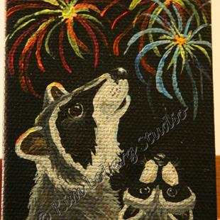 Art: Raccoon Family's 4th of July by Artist Kim Loberg