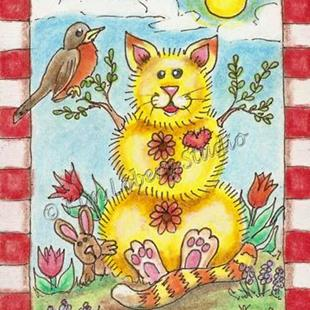 Art: Four Seasons Spring Dandelion Stacked Cat - SOLD by Artist Kim Loberg