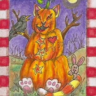 Art: Four Seasons Fall Pumpkin Stacked Cat - SOLD by Artist Kim Loberg