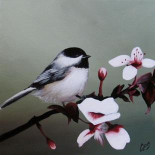Art: Chickadee and Blossoms by Artist Christine E. S. Code ~CES~