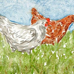 Art: Two Chickens on a Summer Day by Artist Melinda Dalke