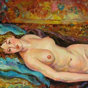 Art: Relaxed nude female by Artist Luda Angel